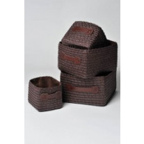 Set de 4 paniers rectangulaires Marron