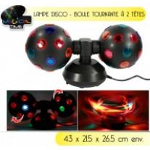 Lampe disco 2 boules tournante sur 2 pieds