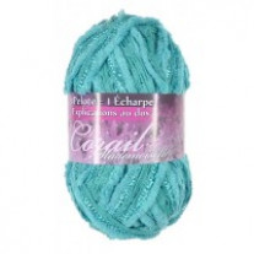 1 pelote de laine Bleu Turquoise Corail mademoiselle