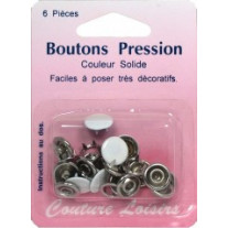 Boutons pression blanc solide 11mm