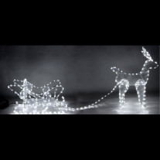 Renne lumineux avec son traineau 336 LED Blanches