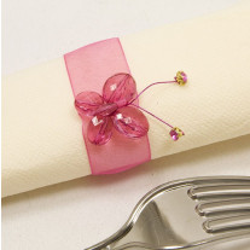 Rond de serviette mariage papillon fuchsia