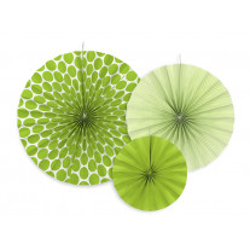 Rosace eventail en papier Vert anis a suspendre