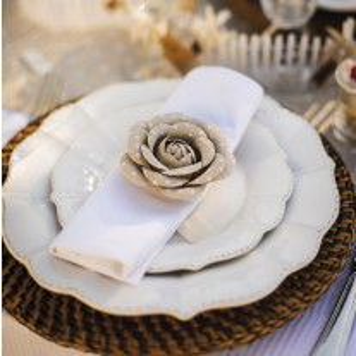 Rose mariage en lin a pois blanc