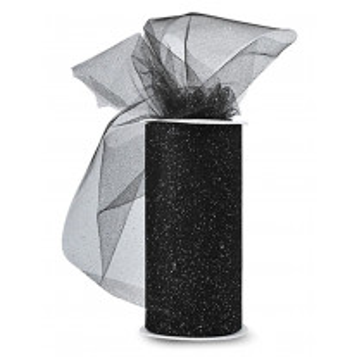 Rouleau de tulle pailleté 15cm Noir