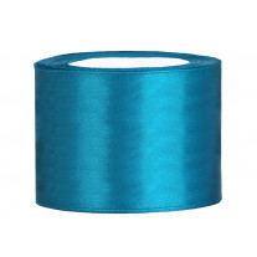 Ruban de satin pas cher 50 mm Bleu Turquoise de 25 mètres