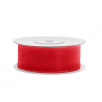 Ruban Organdi 25 mm Rouge