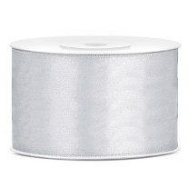 Ruban satin large Argent 38mm