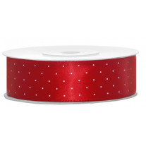 Ruban satin Large Rouge 25 mm x 25 mètres à Pois Blanc