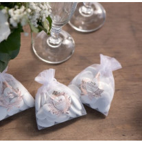 Sachet a dragees Just Married Rose gold