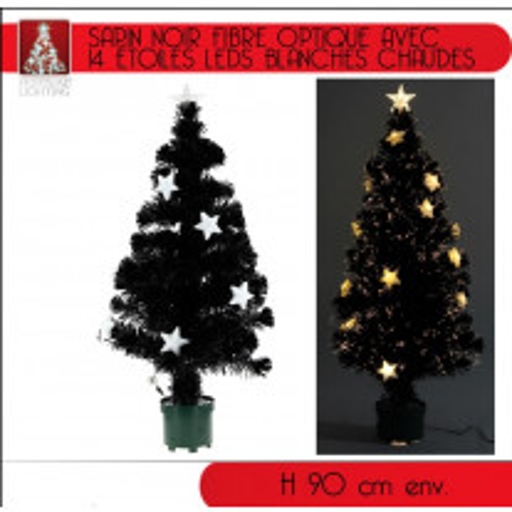 Sapin Noir fibre optique 14 LEDS Blanches