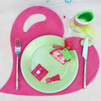 Set de table coeur fuchsia