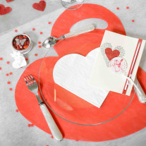 Set de table coeur Rouge x50