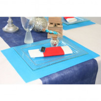 Set de table rectangle tissu intisse Turquoise