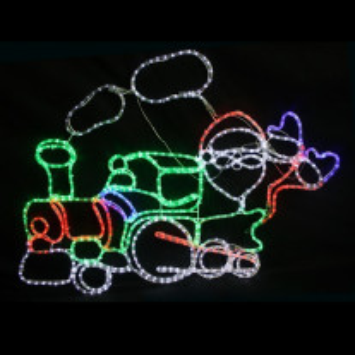 Silhouette lumineuse Père Noel sur Locomotive