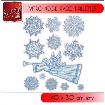 Sticker de Noel vitrostatique Flocons de Neige