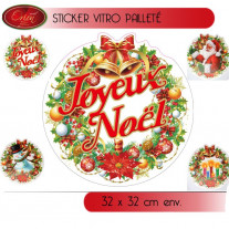Sticker vitrostatique de noel pailleté 32 cm