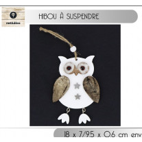 Suspension de noel Hibou en bois naturel