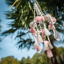 Suspension mariage pompons Rose Gris Blanc