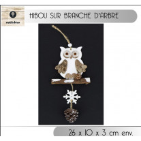 Suspension noel Hibou sur Branche