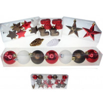 Suspension pour sapin de noel Blanc Marron Rouge x 22