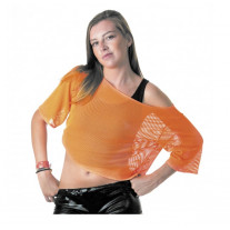 Tee shirt Fish net Orange fluo