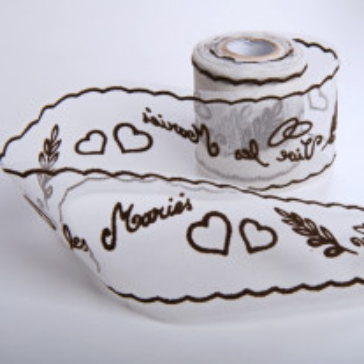 Rouleau de tulle floqué vive les mariés Chocolat
