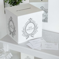 Urne mariage Just Married Blanc