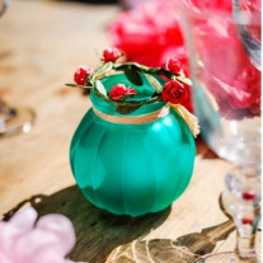 Vase bucolique Turquoise 8cm avec raphia