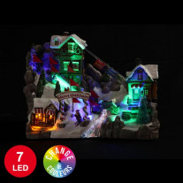 Village de Noel Animé Station de Ski 7 LED Multicolore