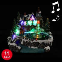 Village de Noel Miniature de la Fontaine Musical avec 11 LED
